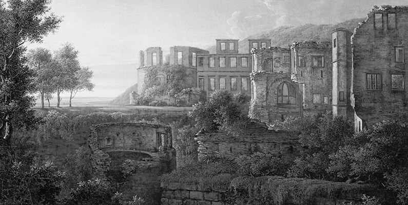 Johann Martin von Rohden (1778–1868). Capriccio View of the Ruins of Heidelberg Castle, oil on canvas. Private collection/Photo © Christie's Images/Bridgeman Images