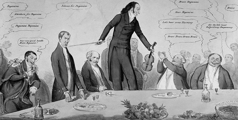 Anonymous. Fiddlestick versus Broomstick, 1831. Paganini standing on a chair with a fiddle in one hand and bow in the other. Around the table sit John Key (Lord Mayor of London), Henry Brougham, Charles (Earl) Grey, and Lord John Russell