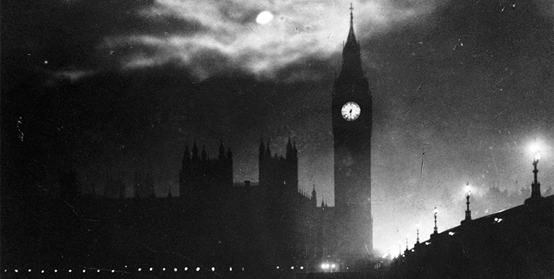 """The Houses of Parliament at Night,"" City of Westminster, London, black-and-white photo. Photo credit: HIP /Art Resource, NY"