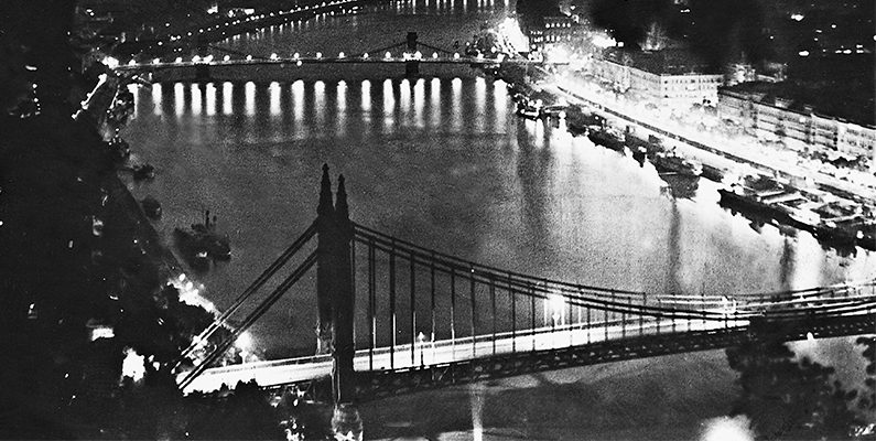 """Budapest at Night,"" 1936, black-and-white photo. © SZ Photo/Scherl/Bridgeman Images"