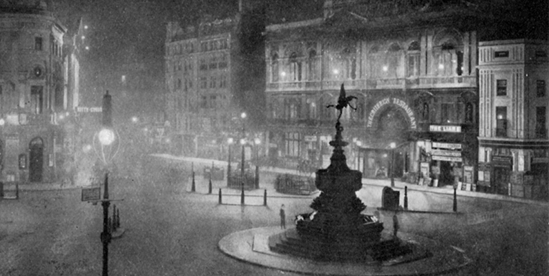 Charles F. Borup. &ldquo;Piccadilly Circus, London, at Night,&rdquo; black-and-white photo. From <i>Penrose&rsquo;s Pictorial Annual 1908&ndash;1909, An Illustrated Review of the Graphic Arts,</i> volume 14