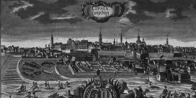 Friedrich Werner (1690&ndash;1778). <i>View of the City of Leipzig from the South East</i>, ca. 1750, colored engraving. Stadtgeschichtliches Museum Leipzig, Germany/Bridgeman Images