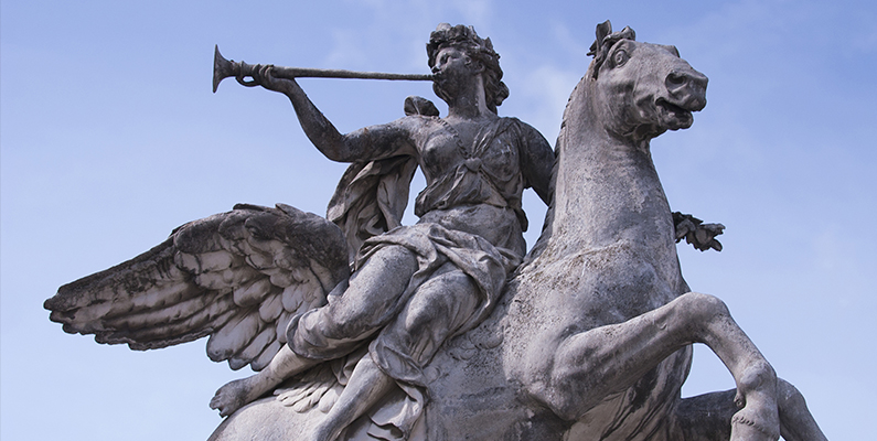 Antoine Coysevox (1640&ndash;1720). <em>The Allegory of Fame astride Pegasus,</em> 1701&ndash;1702, Carrara marble, Place de la Concorde, Paris, France. Photo credit: Timothy McCarthy Archive / Art Resource