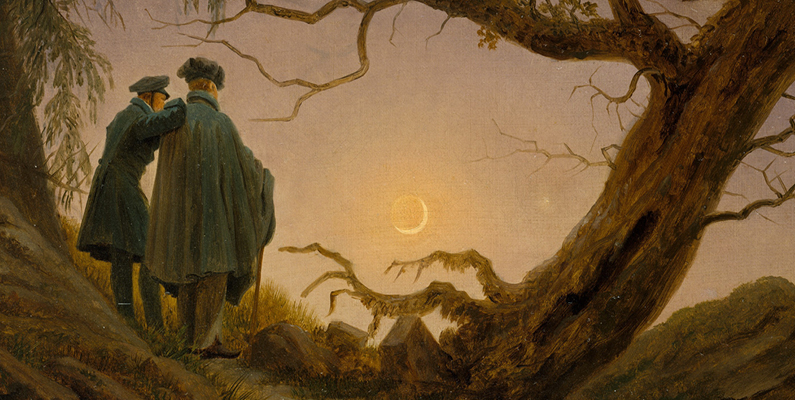 Caspar David Friedrich (1774&ndash;1840), <em>Two Men Contemplating the Moon,</em> (ca. 1825&ndash;1830) oil on canvas. Metropolitan Museum of Art; public domain