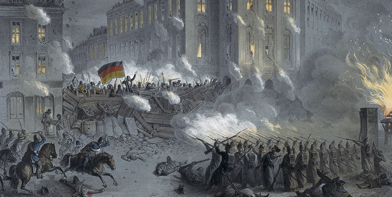 <em>Barricades on the Alexanderplatz in Berlin during the Night of March 18 to 19, 1848,</em> ca. 1848, color lithograph. Photo: Knud Petersen, Kunstbibliothek, Staatliche Museen, Berlin, Germany. Photo credit: BPK/Art Resource, NY