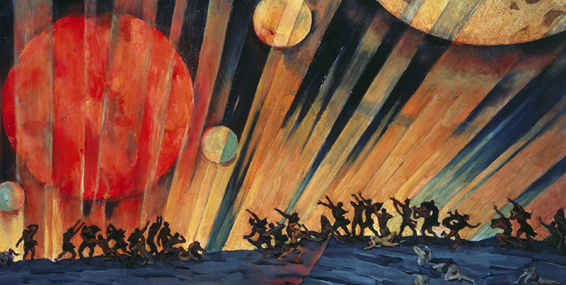 Konstantin Yuon (1875&ndash;1958). <em>The New Planet,</em> 1921, tempera on cardboard. Tretyakov Gallery, Moscow, Russia. Photo credit: Scala/Art Resource, NY